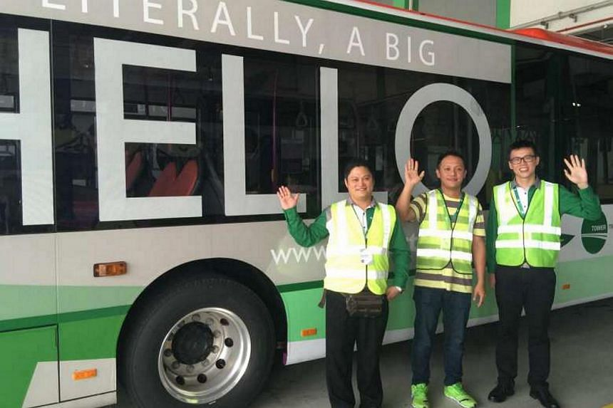 Tower Transit's new bus captains (from left) Kong Chiong Ping, Lee Zi Yang and Lee Shao Xiang.