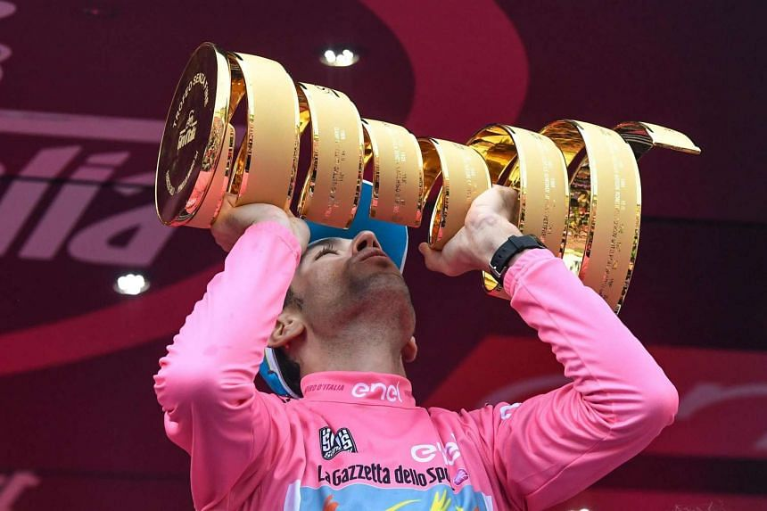 Italian rider of Astana Team Vincenzo Nibali celebrates on the podium his win in the Giro d'Italia 2016 cycling race following the 21st and last stage, Turin, Italy, on May 29, 2016.