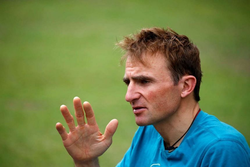 Ueli Steck, a mountaineer from Switzerland, speaks to the media at an interview at a hotel in Kathmandu, Nepal, on May 30, 2016.