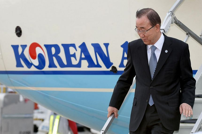 United Nations Secretary-General Ban Ki Moon leaving the airplane upon his arrival at the Chubu Centrair International airport.