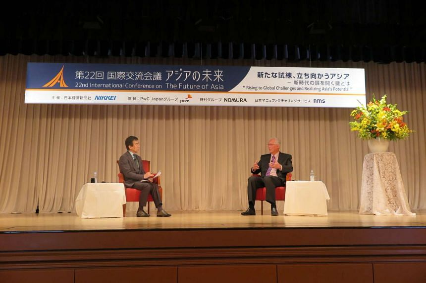 Emeritus Senior Minister Goh Chok Tong speaking at the 22nd International Conference on the Future of Asia in Tokyo, Japan on May 30, 2016.