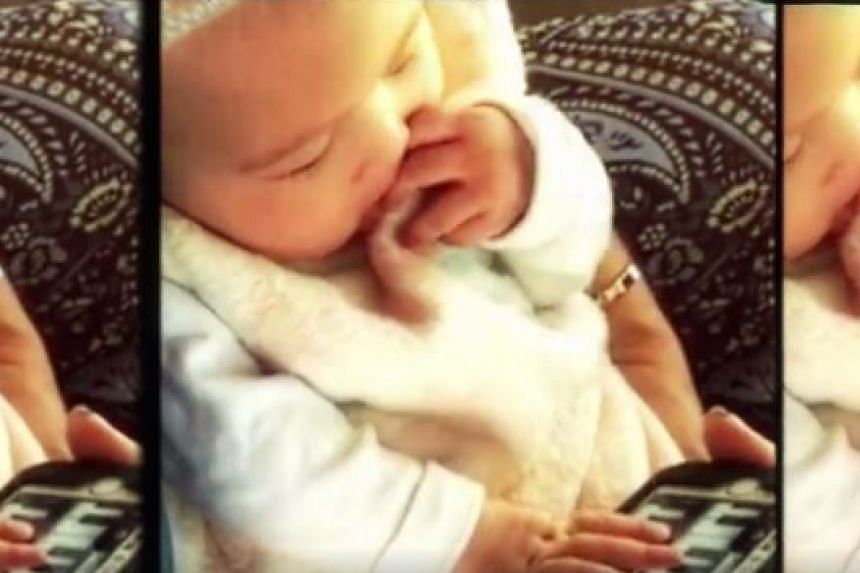 Jay Chou's daughter, Hathaway, appears at the end of the video of his new song playing a toy piano.