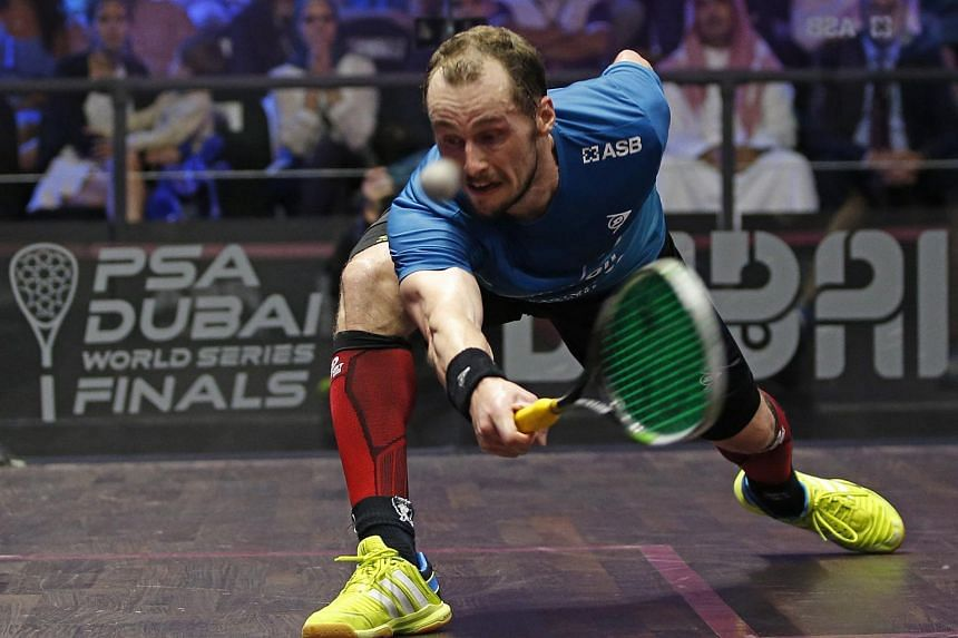 Gregory Gaultier against Cameron Pilley during their final match of Men's Singles Squash at the Professional Squash Association World Series Finals in Dubai, May 28.