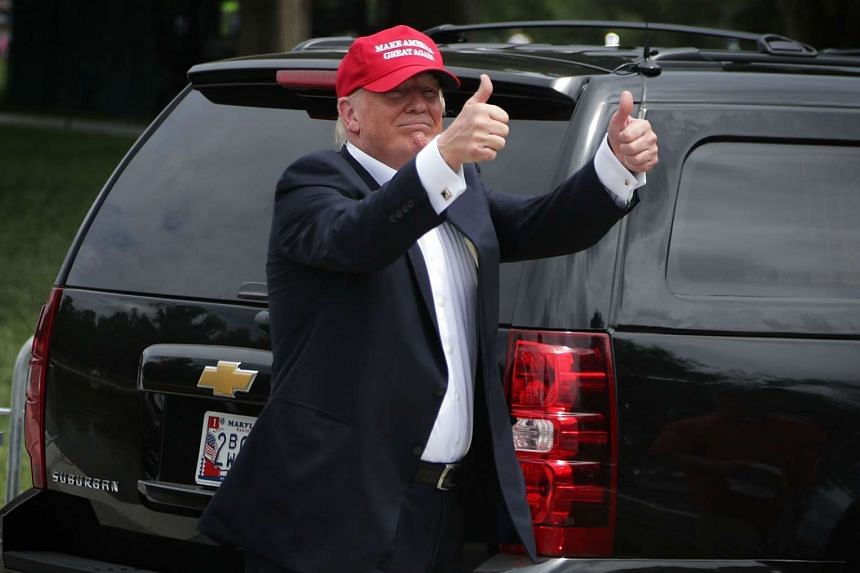 Mr Donald Trump seen leaving after he spoke at the annual Rolling Thunder First Amendment Demonstration Run, on May 29, 2016, in Washington, DC.