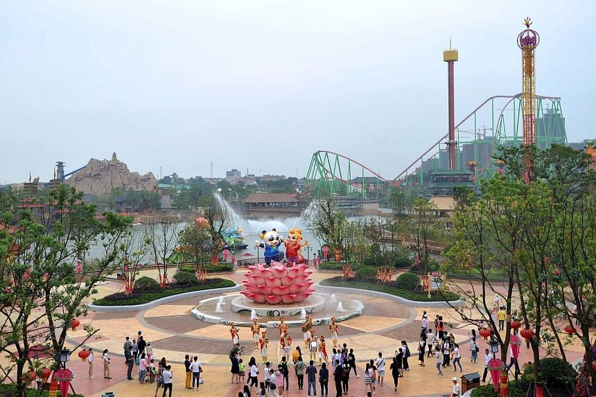 Performers dressed as Snow White and Captain America were seen in the new Wanda City theme park in Nanchang, China, over the weekend.