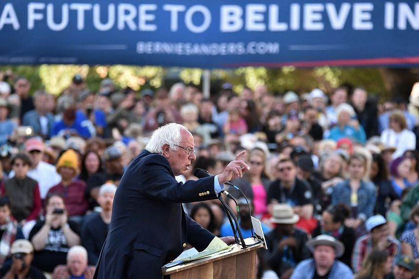 Democratic presidential candidate Bernie Sanders speaks at a rally in Oakland, California on May 30.