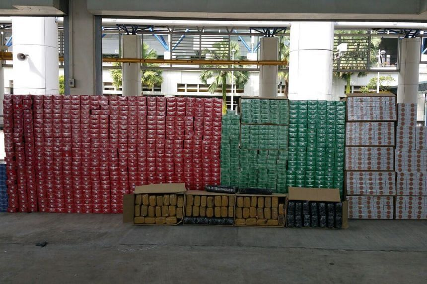 The 2,221 cartons of contraband cigarettes seized.