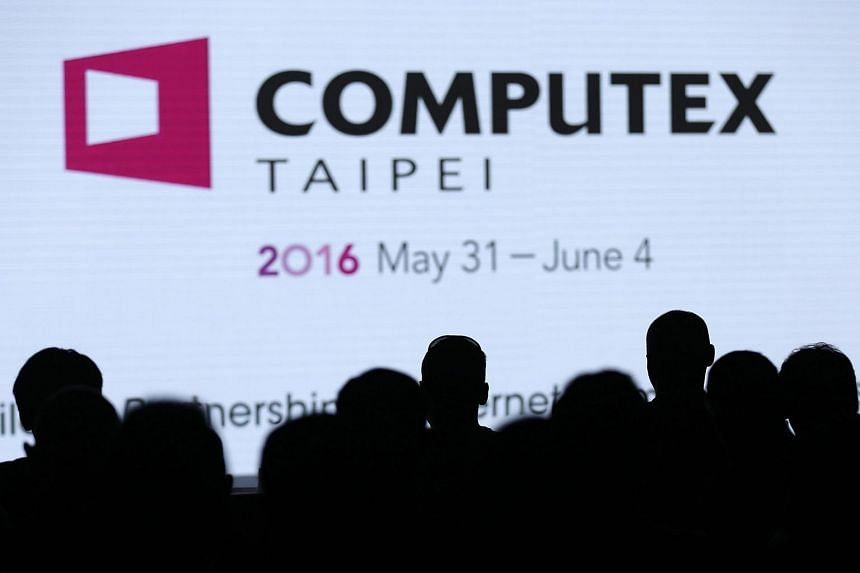 The Computex 2016 logo is seen at a news conference ahead of the largest computer show in Asia, in Taipei, on May 30.