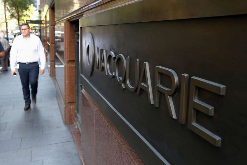 Macquarie Group's corporate logo is pictured on the wall of the Sydney headquarters, on May 6, 2016.