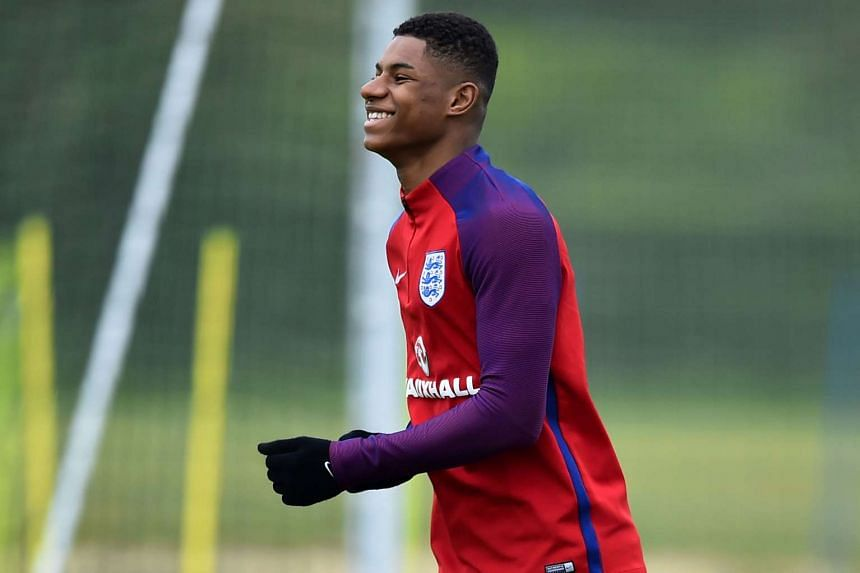 England's striker Marcus Rashford takes part in a team training session in Watford, London, on May 30, 2016.