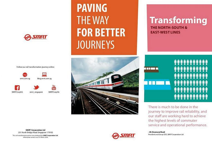 A sample of the commuter brochures contained in SMRT's information pack.
