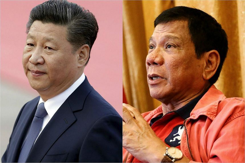 President Xi Jinping (left) has told new Philippine President Rodrigo Duterte that China hopes to improve relations with the Philippines after ties were affected over territorial claims in the South China Sea.