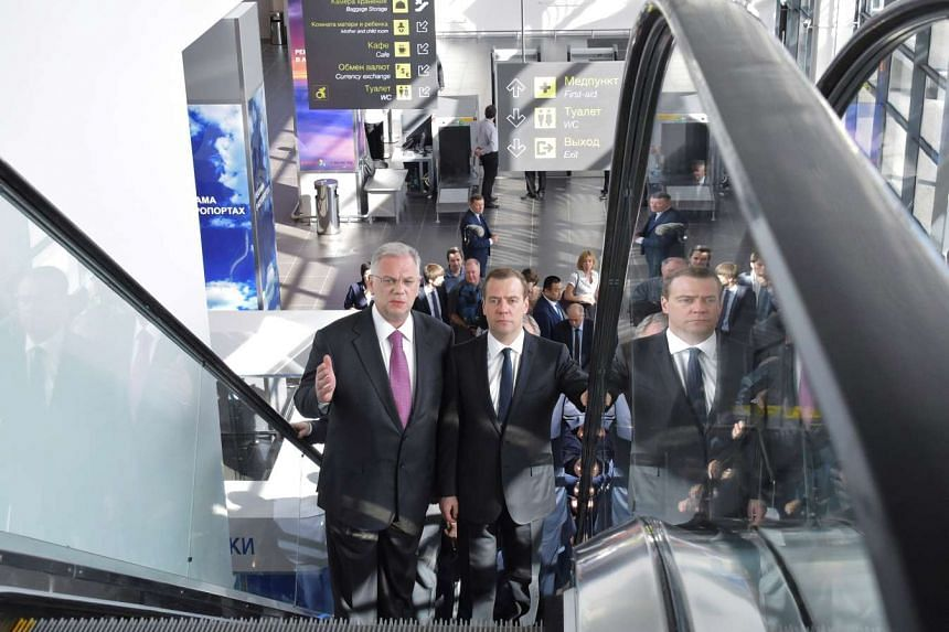 Russian Prime Minister Dmitry Medvedev (right) visits the newly constructed Zhukovsky international airport near Moscow, Russia on May 30.