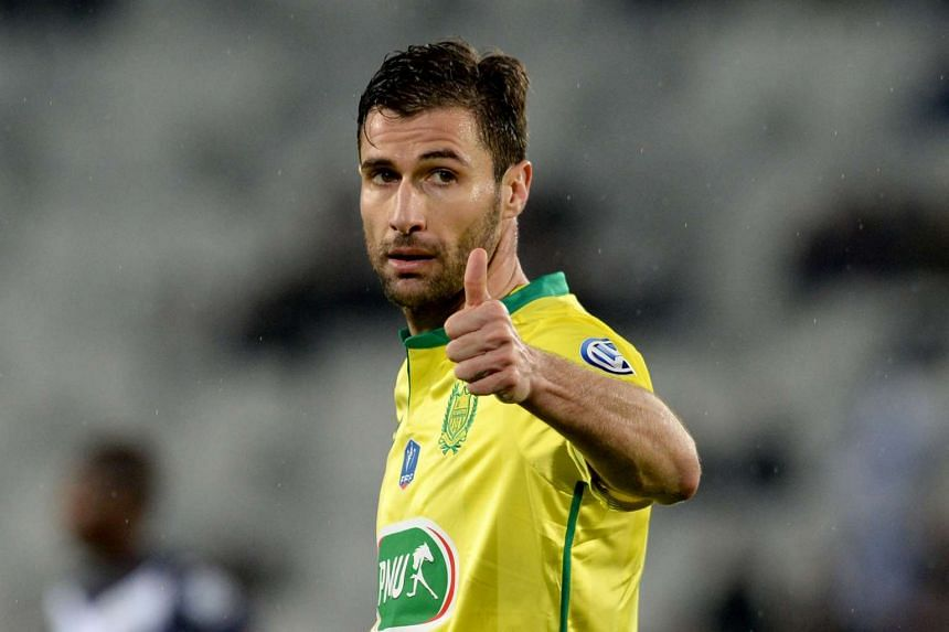 This file photo taken on Feb 10, 2016 shows Nantes' French defender Lorik Cana giving the thumbs up during the French Cup round of 16 football match between Bordeaux and Nantes at the Matmut Atlantique stadium in Bordeaux, southwestern France.