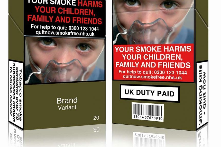 This file photo released by Action on Smoking and Health (UK) in London on May 19, 2016 shows a mock-up design of a standardised cigarette pack.