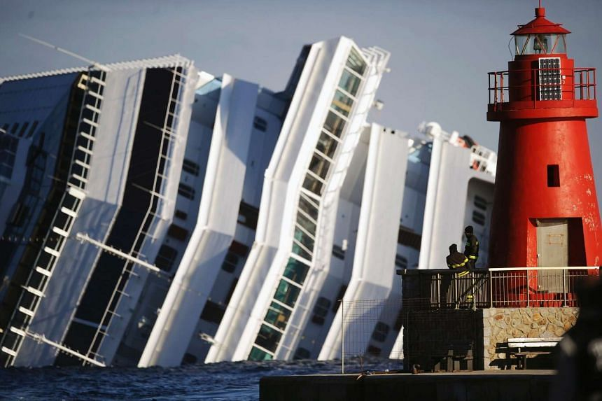 The cruise liner Costa Concordia on Jan 17, 2012.