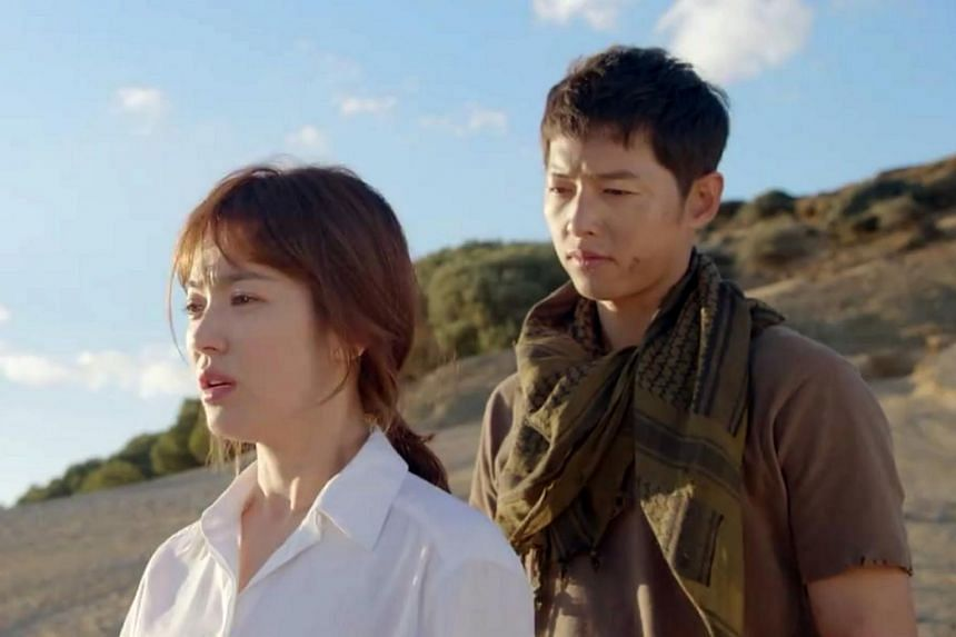 Still from the last episode of Descendants Of The Sun, starring Korean stars Song Hye Kyo and Song Joong Ki.