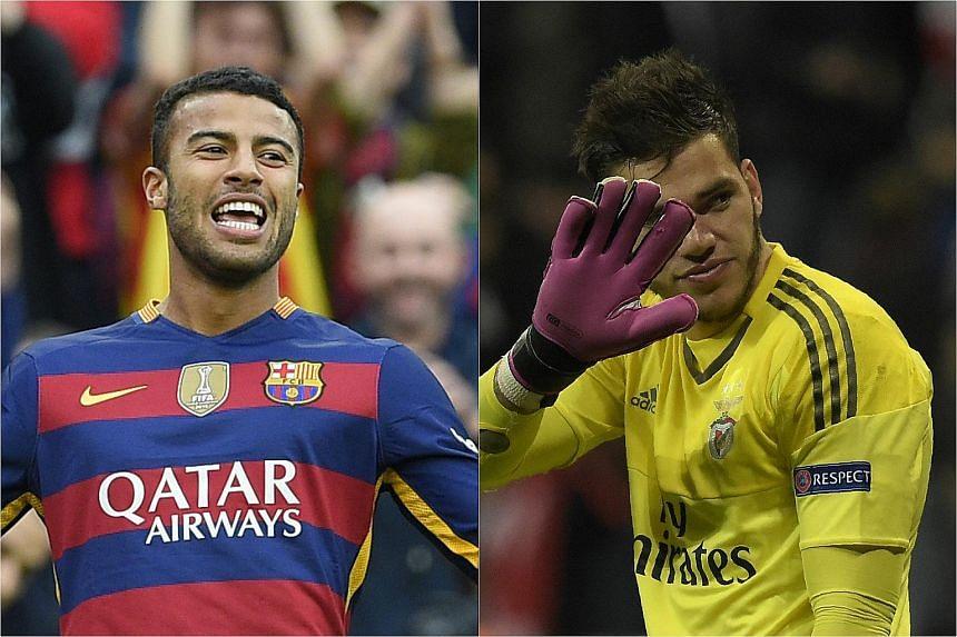 Barcelona's Brazilian midfielder Rafinha (left) and Benfica's Brazilian goalkeeper Ederson Moraes.