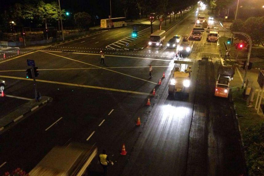 Road resurfacing at Jalan Boon Lay on June 1, 2016.