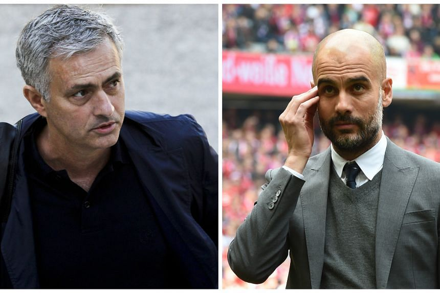 Manchester United head coach Jose Mourinho (left) and Manchester City counterpart Pep Guardiola (right).