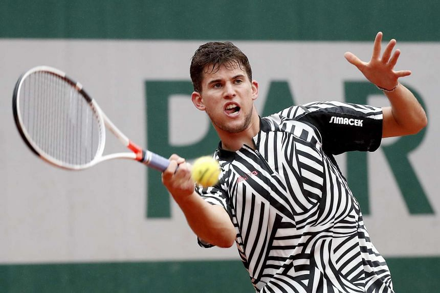 Dominic Thiem of Austria during his match against Marcel Granollers of Spain at the French Open tennis tournament at Roland Garros in Paris on May 31, 2016.