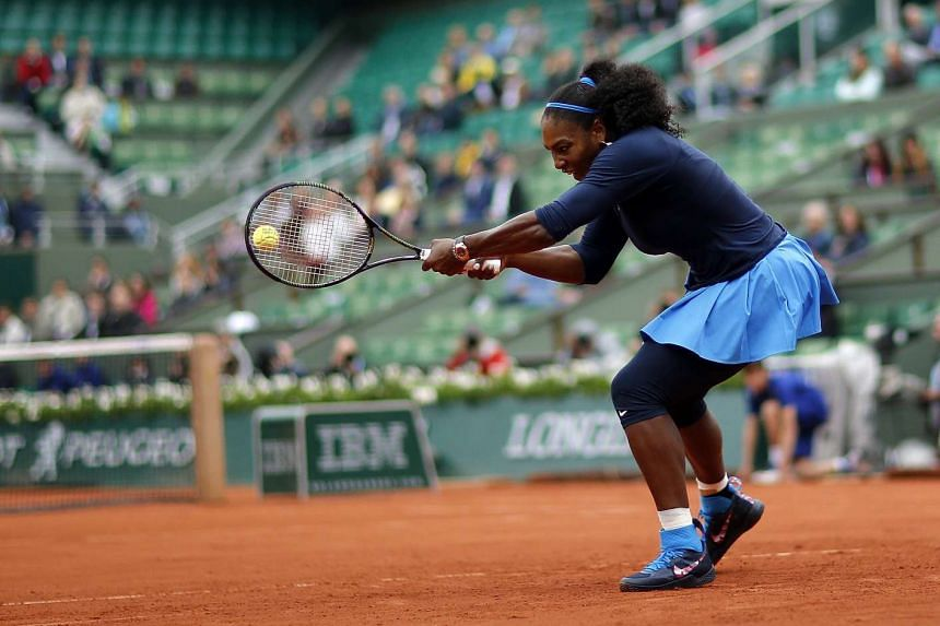 Serena Williams of the US in action against Elina Svitolina of Ukraine at the French Open, on June 1, 2016.