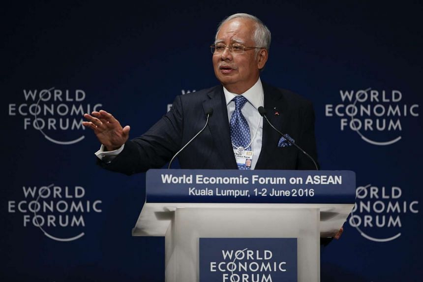 Malaysian Prime Minister Najib Razak speaks at the World Economic Forum on Asean in Kuala Lumpur on June 1, 2016.
