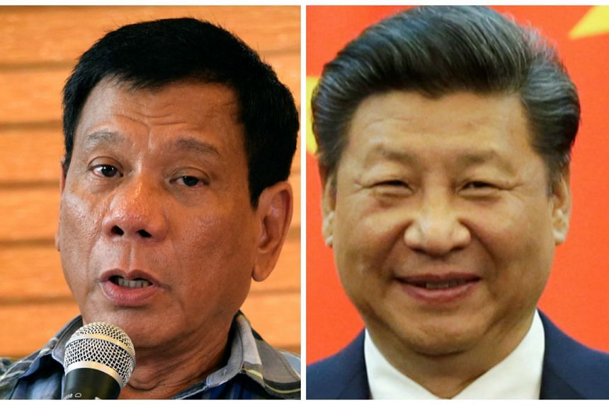Duterte (left) heaped the praise on Xi (right) in a news conference.