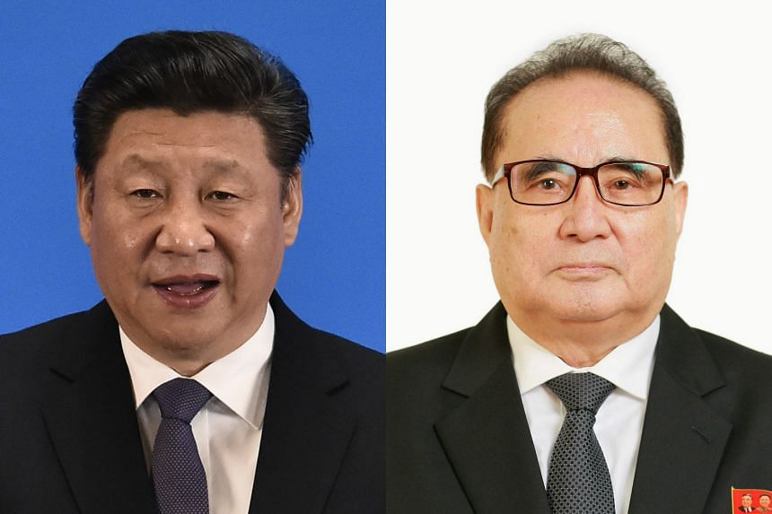 China's President Xi Jinping (left) met Senior North Korean diplomat Ri Su Yong on Wednesday (June 1), China's Xinhua state news agency said.
