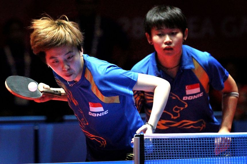 Zhou Yihan (left) and Lin Ye beat Feng Tianwei and Yu Mengyu to win the gold medal in last year's SEA Games at home. Zhou joins Feng and Yu, who will play singles as well, in the team event at the Rio Olympics. At least 24 athletes will go to Brazil, pend