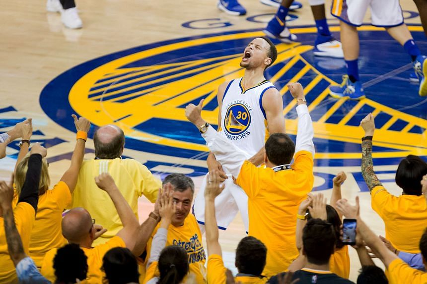 Golden State guard Stephen Curry showing his delight after a three-pointer in the fourth quarter to quell Oklahoma City's challenge. The Warriors won 96-88 to clinch the series.