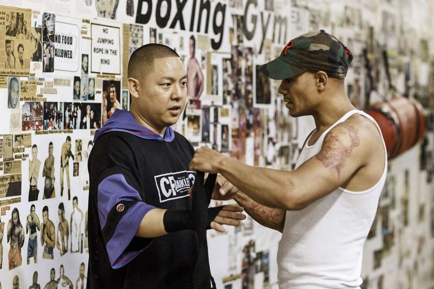 Eddie Huang training at Church Street Boxing Gym in New York.