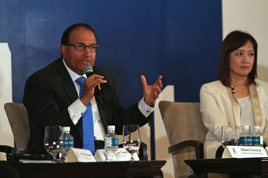 Mr Iswaran speaking at the inaugural The Business Times Leaders' Forum yesterday. The co-chair of the Committee on the Future Economy stressed that beyond technical capabilities, Singapore will have to grapple with creating a culture that welcomes in