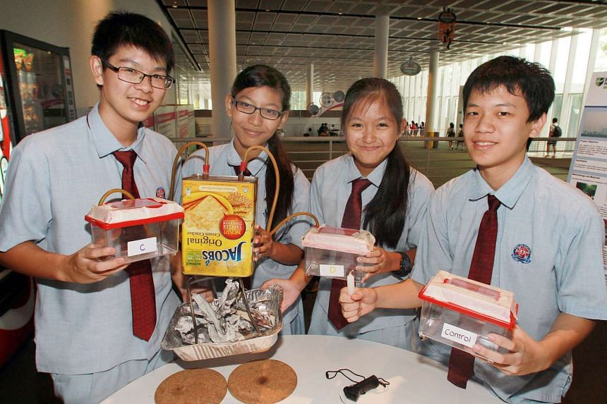 The team from Chestnut Drive Secondary School with their science project on using lichens as an indicator of air quality, at the 11th Scientific Thinking Programme in 2014.