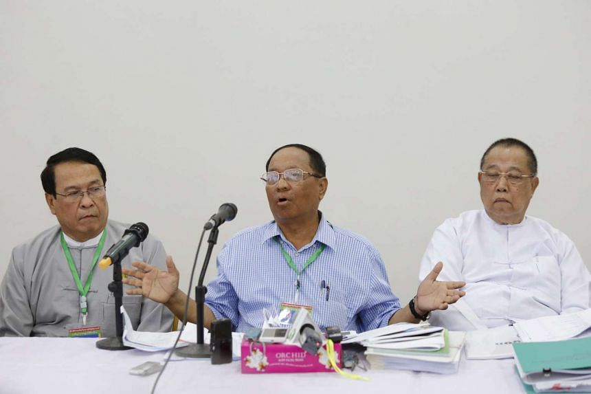Myint Aung (centre), a former union mining minister, talks at a press conference on Myanmar Gems Expo Committee's funding in Naypyitaw, on June 2, 2016.