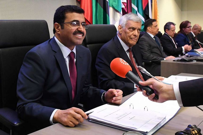 Opec president Mohammed Saleh Al-Sada (left) and acting secretary-general Abdallah Salem el-Badri attend the 169th meeting of Opec, at its headquarters in Vienna, on June 2, 2016.