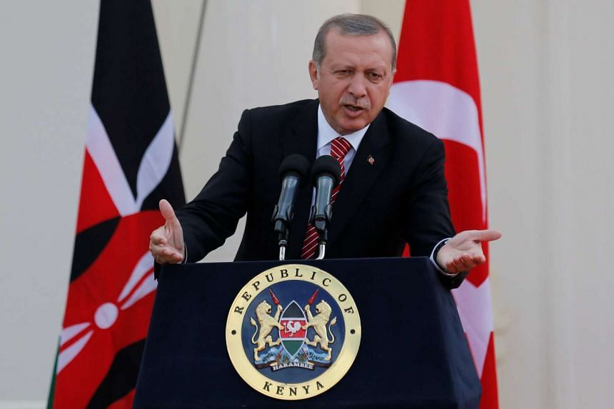 Turkish President Tayyip Erdogan addresses a news conference at State House in Nairobi, Kenya, on June 2, 2016.