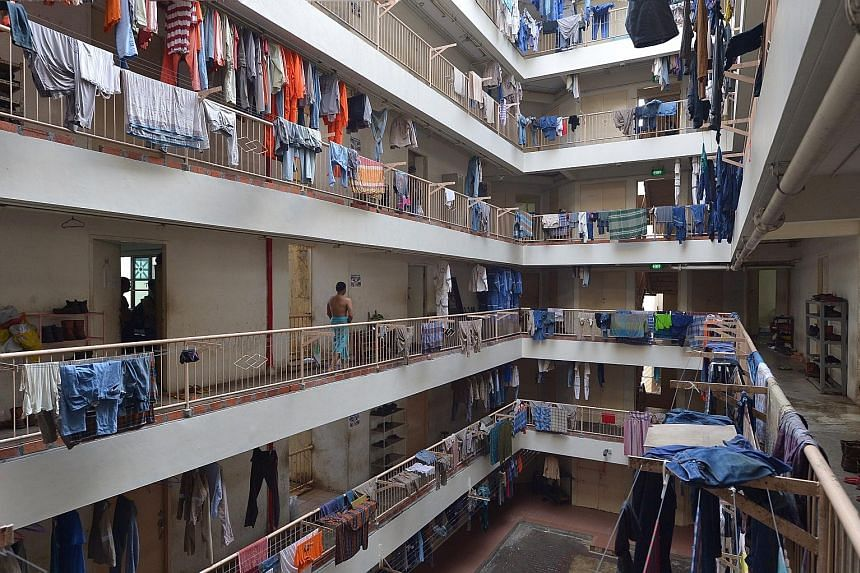 """The Blue Stars dormitory in Boon Lay was found to have 5,098 bed spaces during an inspection last July. MOM said the operator had """"severely compromised"""" the health and well-being of the workers residing there by overcrowding the dorm."""