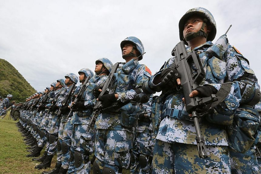 Chinese Marine Corps on a joint military exercise with Thailand's forces last month. Military outlays in Asia and Oceania grew 5.4 per cent in 2015, said the Stockholm International Peace Research Institute.