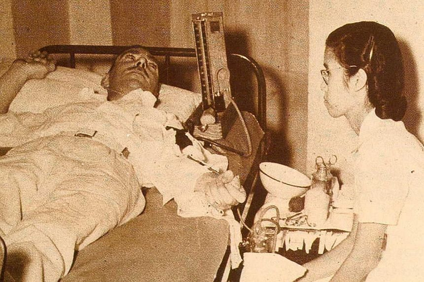 Blood donation has come a long way since the 1940s. In the past, donors had to lie on their backs and face the ceiling (right), while those who donate blood today can book an appointment online and recline on cushioned chairs (left).