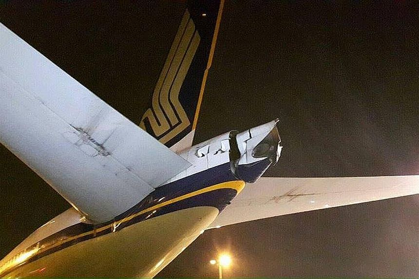 The tail cone of a Singapore Airlines (SIA) aircraft was damaged after it hit another plane that was being towed at Changi Airport on Monday evening. The incident was first reported by the Airline Hub Buzz website yesterday, and SIA later confirmed i