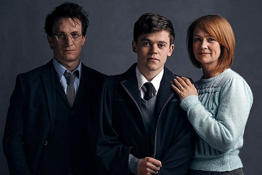 (From far left) Jamie Parker plays the middle-aged Harry Potter and Sam Clemmett and Poppy Miller play his son and wife.