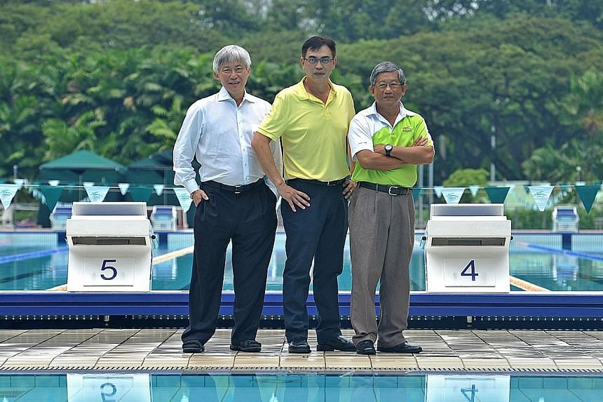 From left: Chinese Swimming Club (CSC) president Edwin Lee, swimming technical director David Lim, and chairman of CSC swimming sub-committee Victor Chia. CSC launched an international meet yesterday.