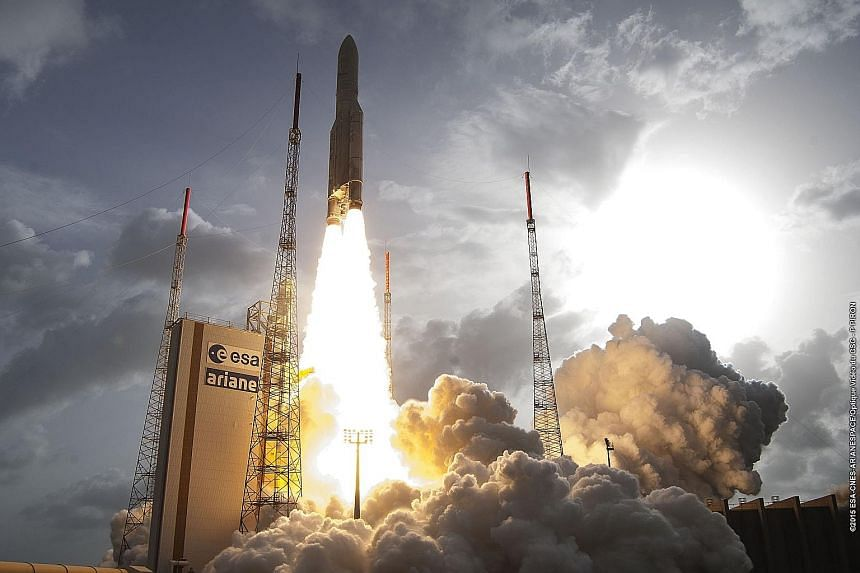 Ariane 5 lift-off at Guiana Space Centre in French Guiana on April 26. Ariane 5 was driven by technology and developing more efficient engines. Arianespace now wants the focus to turn to reducing cost and Ariane 6 will be designed with this in mind.