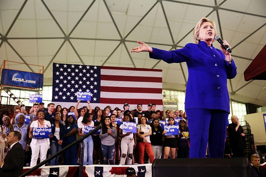 Democratic presidential candidate Hillary Clinton speaks at a rally in Newark, New Jersey on June 1, 2016.