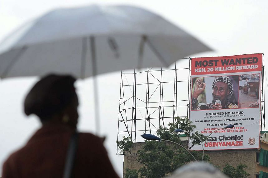 A billboard poster erected in Nairobi in 2015 by the Kenyan government shows the militant known as Dulyadin.