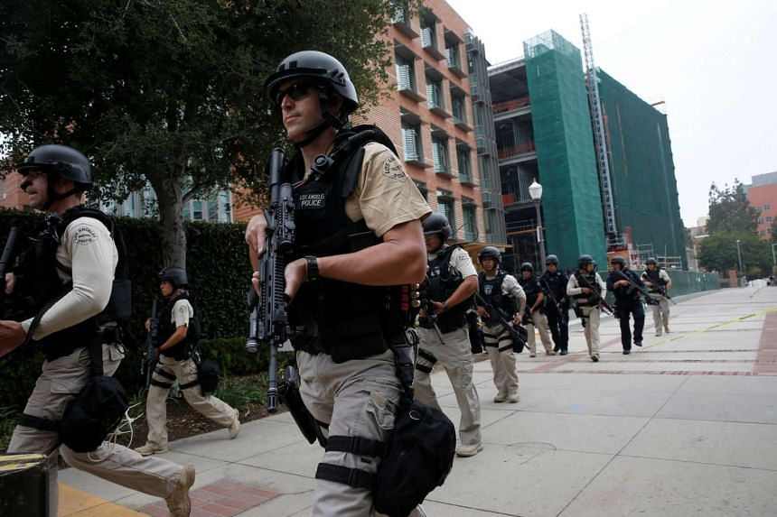 A Los Angeles Metro Police squad conducts a search on the University of California, Los Angeles campus.