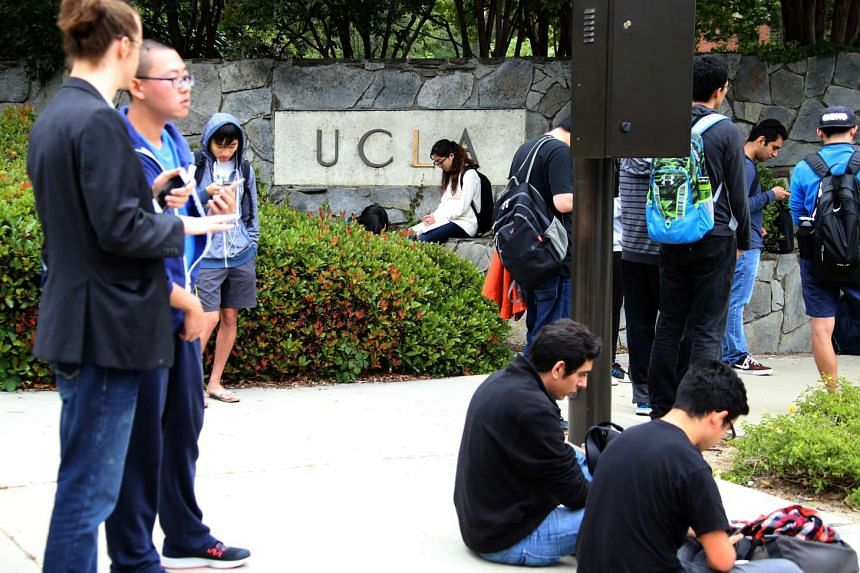 Students gather together during the UCLA lockdown.