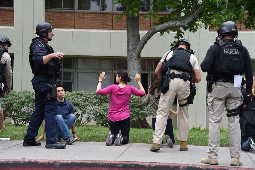 Police and other security patrol the area on June 1, 2016, at the University of California's Los Angeles campus.