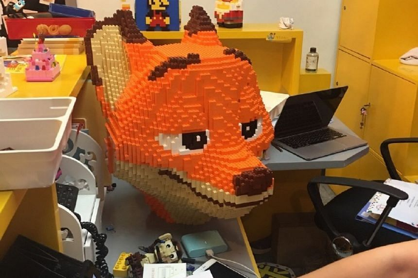 Mr Zhao reportedly took three days and nights to build the 1.8m lego sculpture of a fox named Nick (above) from animated film Zootopia.